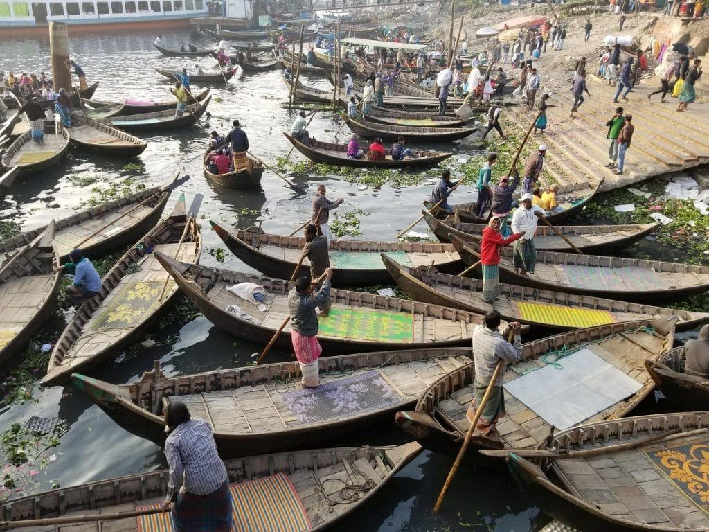 Boats are waiting for passengers in the Buriganga river