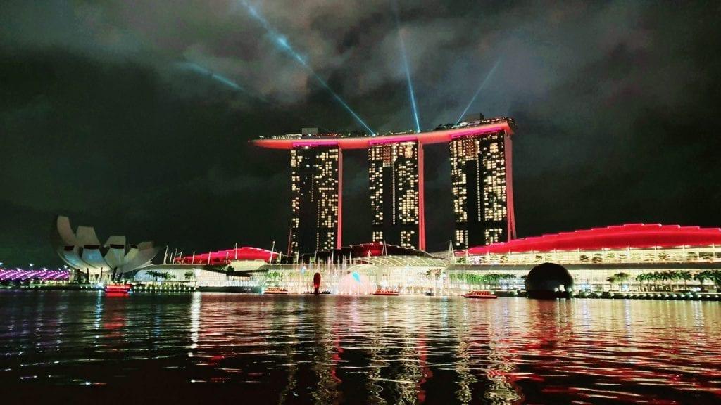 Red laser on Marina Sands Bay