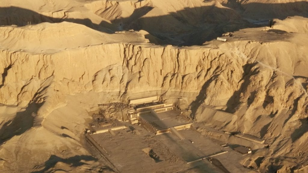 Aerial view of the temple of Hatshepsut.
