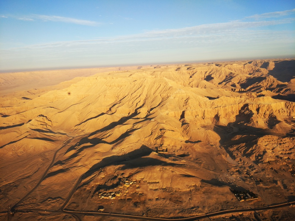 You can enjoy aerial view of the valley of the kings during you hot air balloon tour in Luxor.