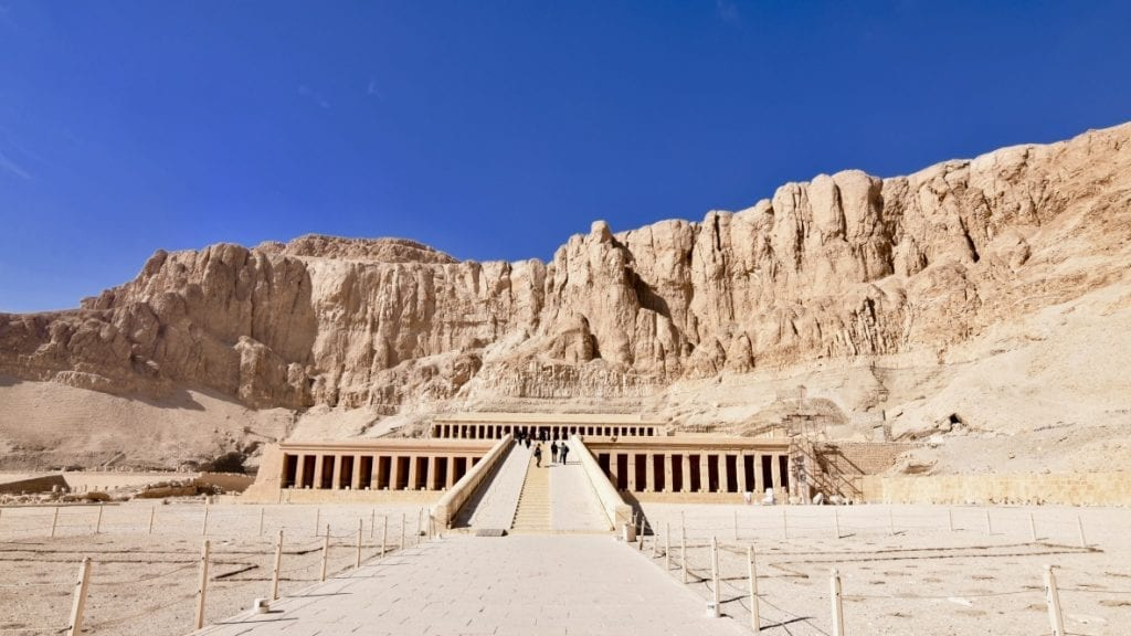 Front view of the Temple of Hatshepsut in Luxor, Egypt.