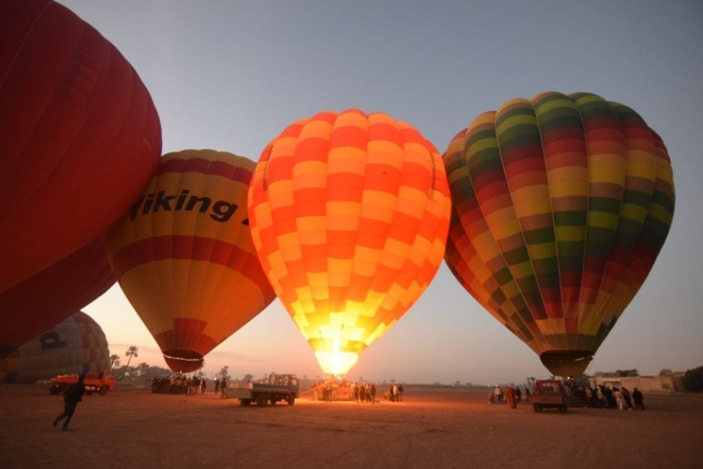 Hot air balloon ride is a popular activity in Luxor, Egypt.