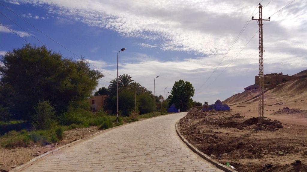 A road in west bank in Aswan Egypt.