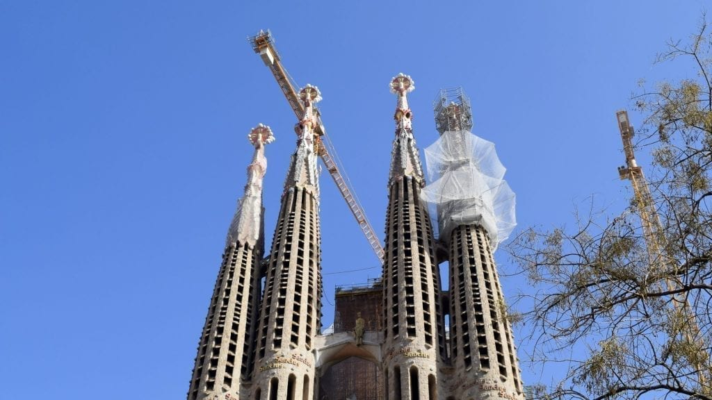 Outside view of Sagrada Familia, the top tourist destination in Barcelona.