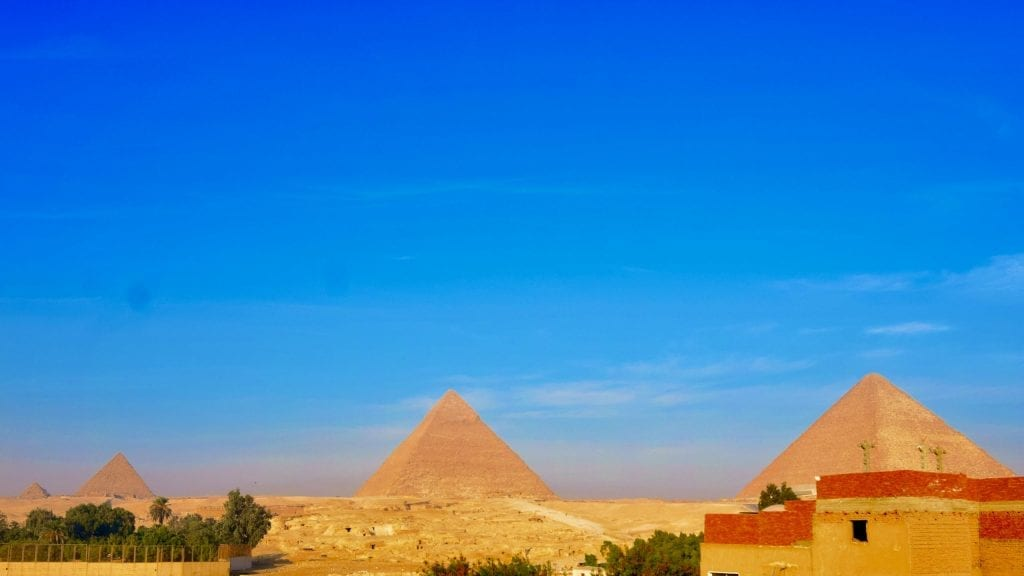 View from Pyramids Loft Homestay in Giza, Egypt.
