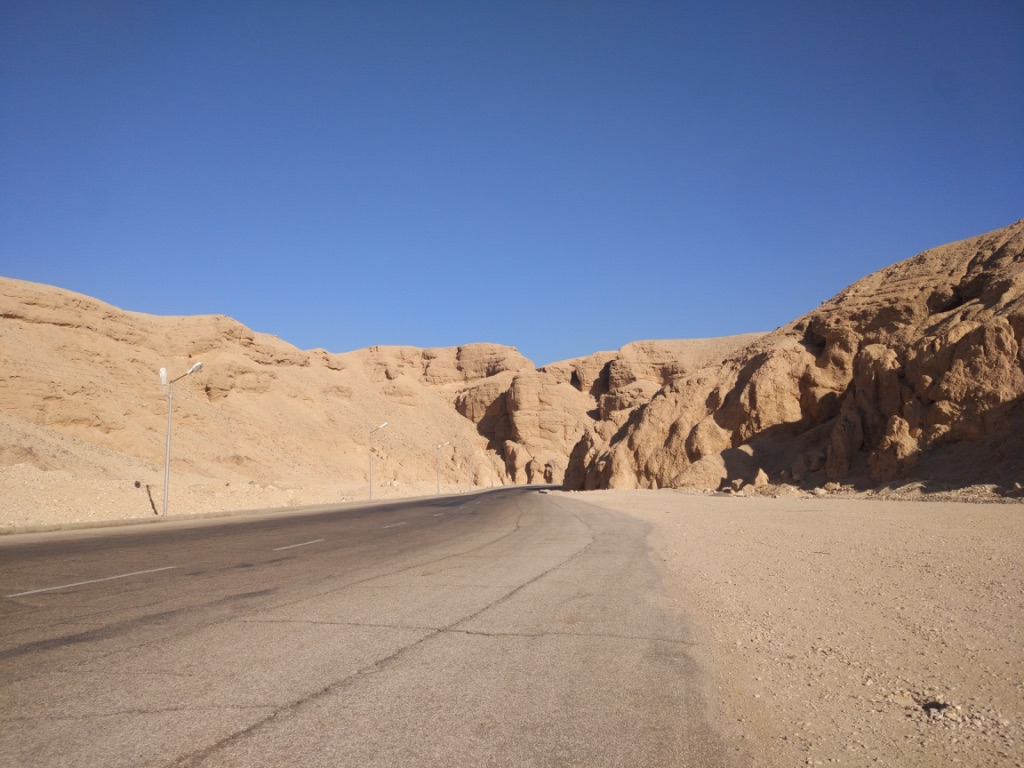 Empty street in the valley of Kings in Luxor, Egypt.