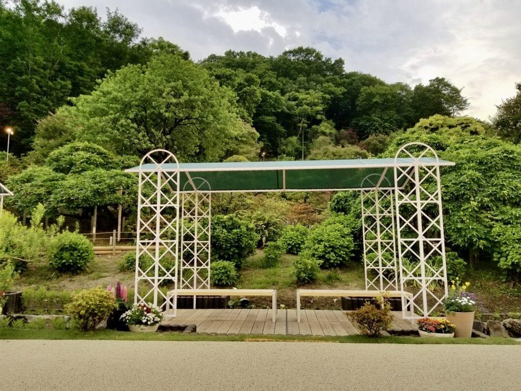 Resting place inside of Ashikaga Flower Park.