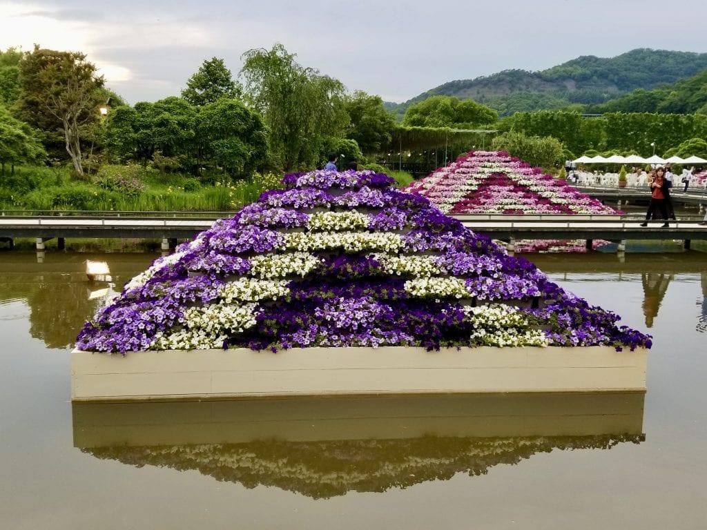 A flower pyramid in Ashikaga Flower Park.
