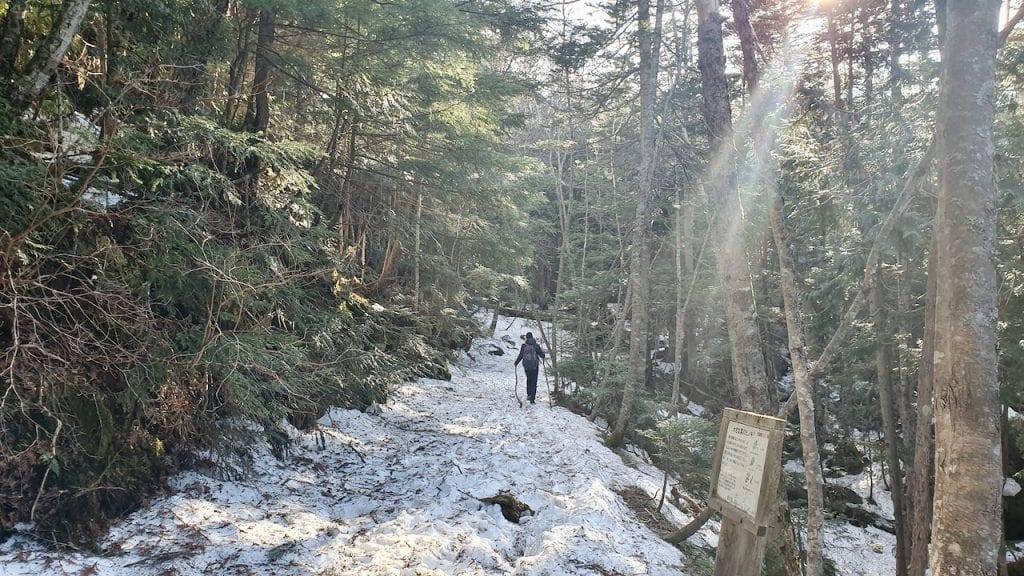 We saw snow during our hike to Karikomi lake in Japan.