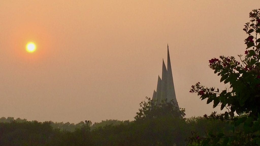 Sunset in the national monument of Bangladesh.
