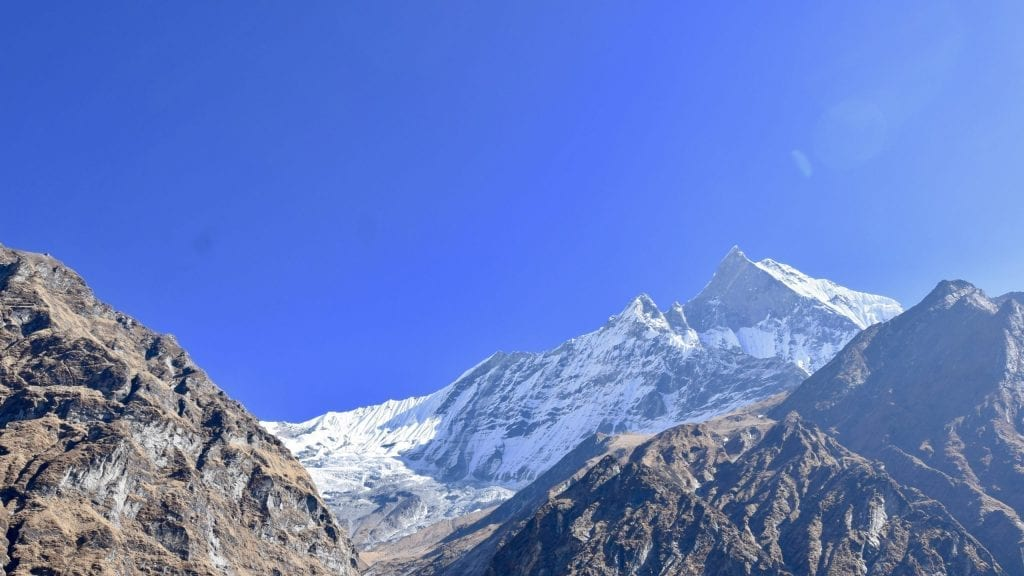 View of Annapurna from the Macchapuchare Base Camp.