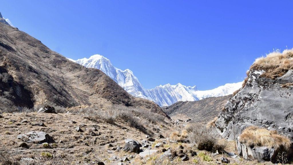Snowcapped Annapurna mountain during Annapurna Sanctuary Trek.