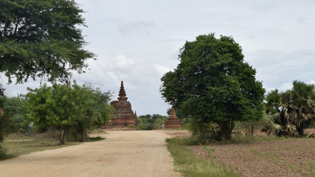 The roads for exploring Bagan by bike is mostly made of muds