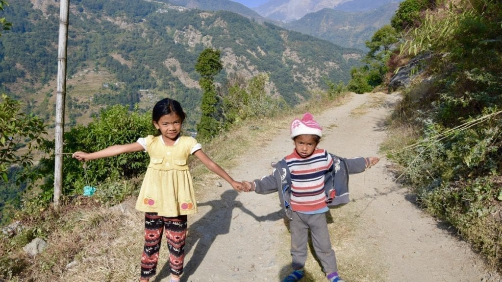 Two little angels blocked our road and demanding for money during my Annapurna base camp trek !