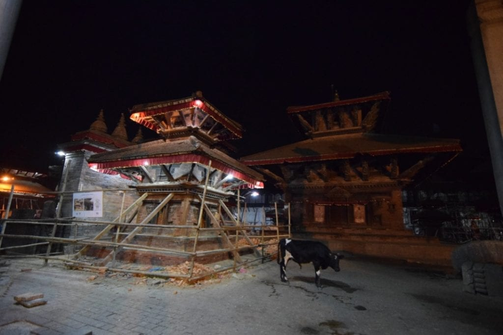 A scene from Durbar Square in Thamel, Kathmandu at night