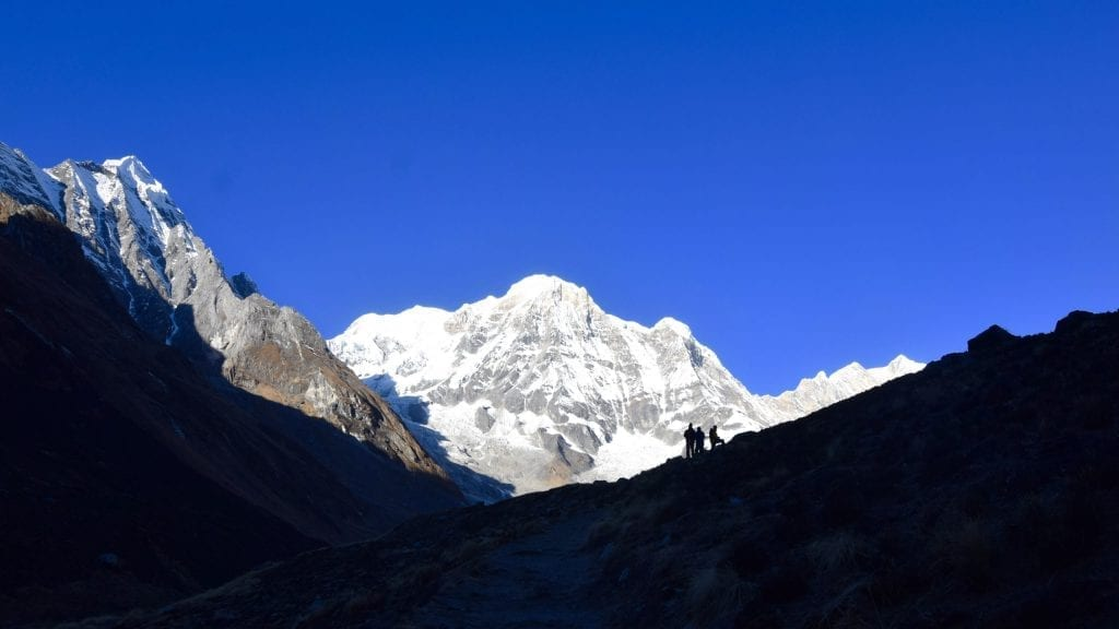 The last leg of Annapurna Sanctuary Trek when the mountains are visible.