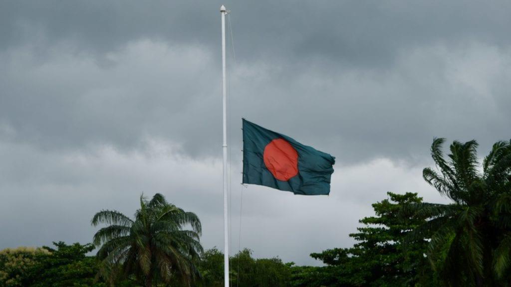 Flag of Bangladesh waving high.