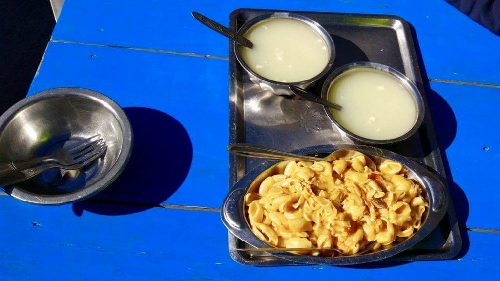 Food in MBC base camp during Annapurna Sanctuary Trek.