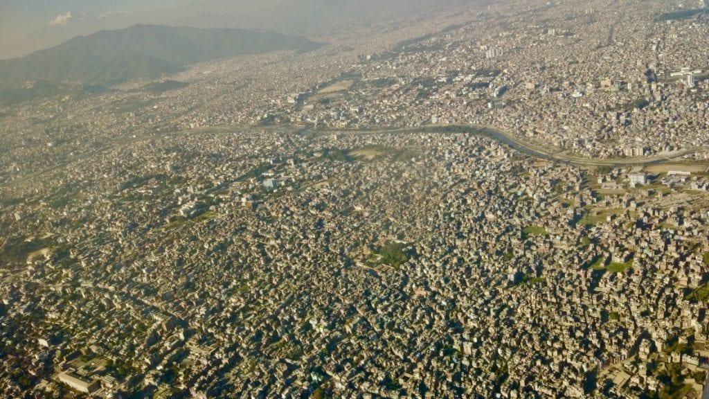Aerial view of Kathmandu taken from plane
