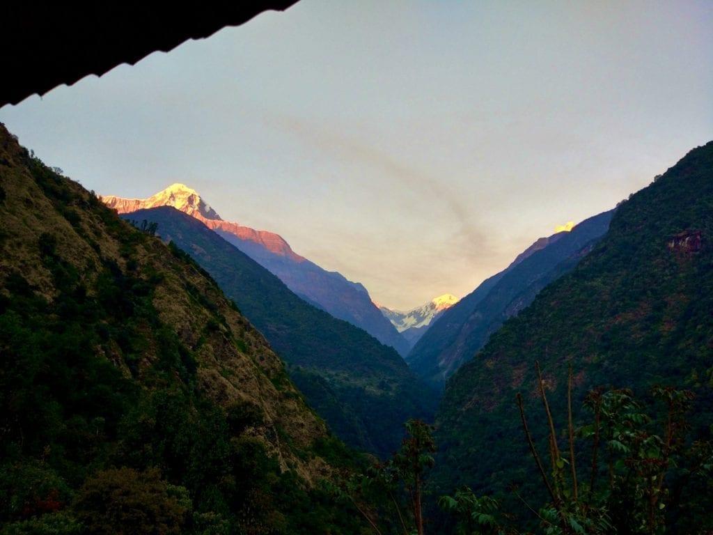 Sunset in Jhinu Danda during Annapurna Base Camp trek.