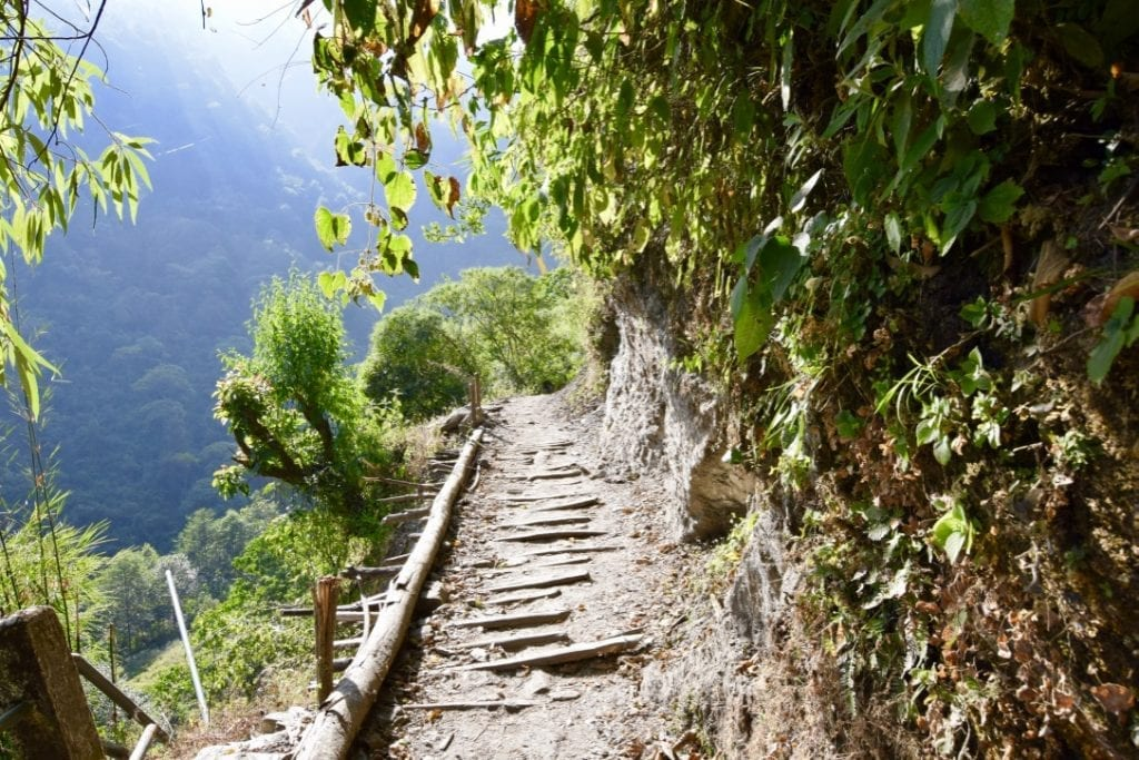 A narrow street made of bamboo during Annapurna base camp trek.