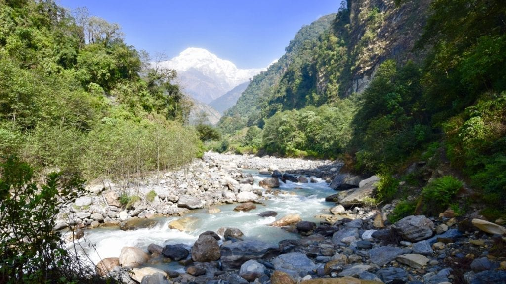 The Modikhola river flowing through stones