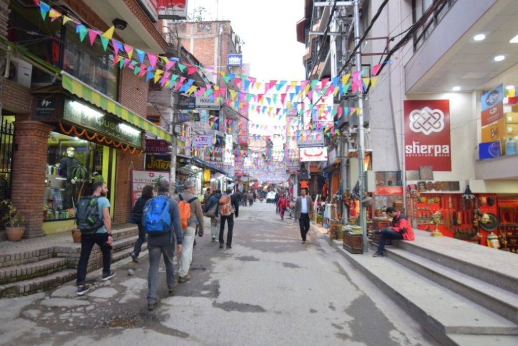 Narrow street of Thamel in Nepal. where we stayed the first night during Annapurna Base Camp trek.