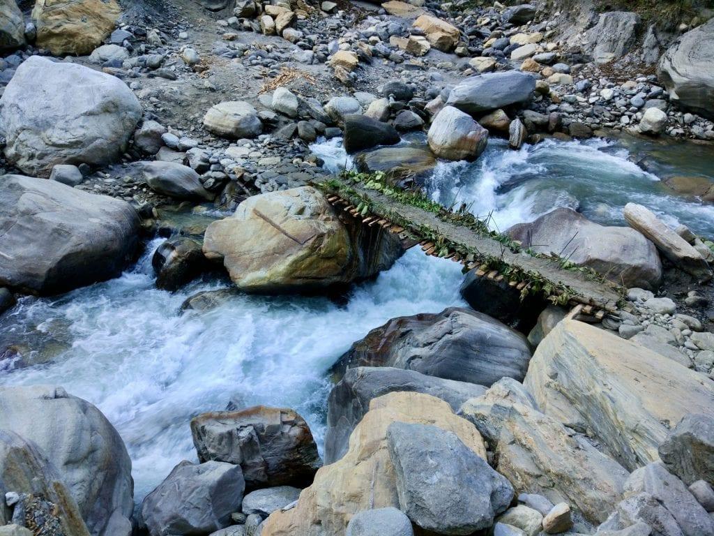 A short bridge to cross stream during Annapurna Base Camp.