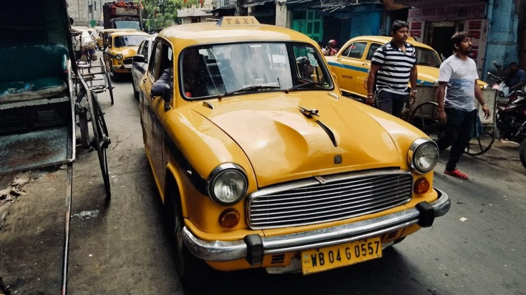 Yellow taxi cab can you take you to different places to visit in Kolkata.