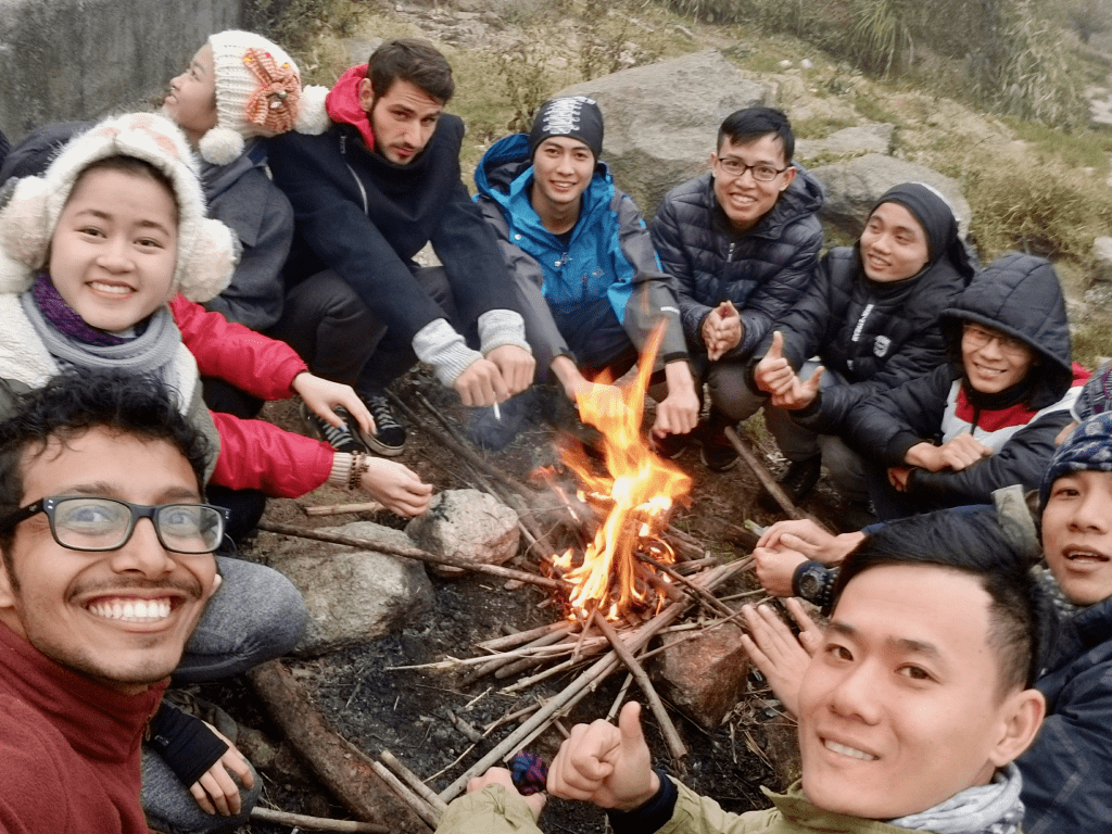 Getting warm with fire on our way to mount Fansipan