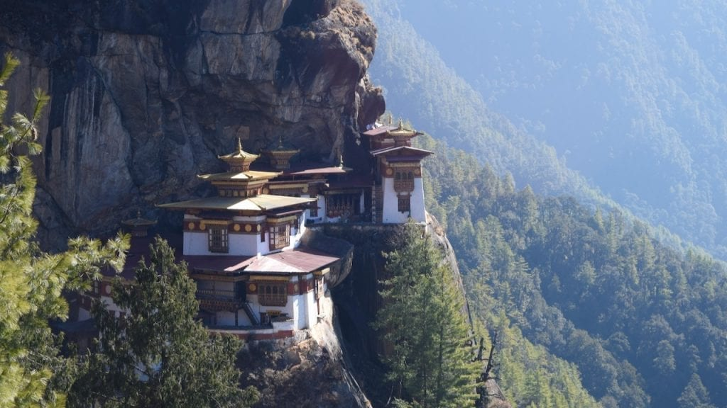 Side view of tiger nest monastery.