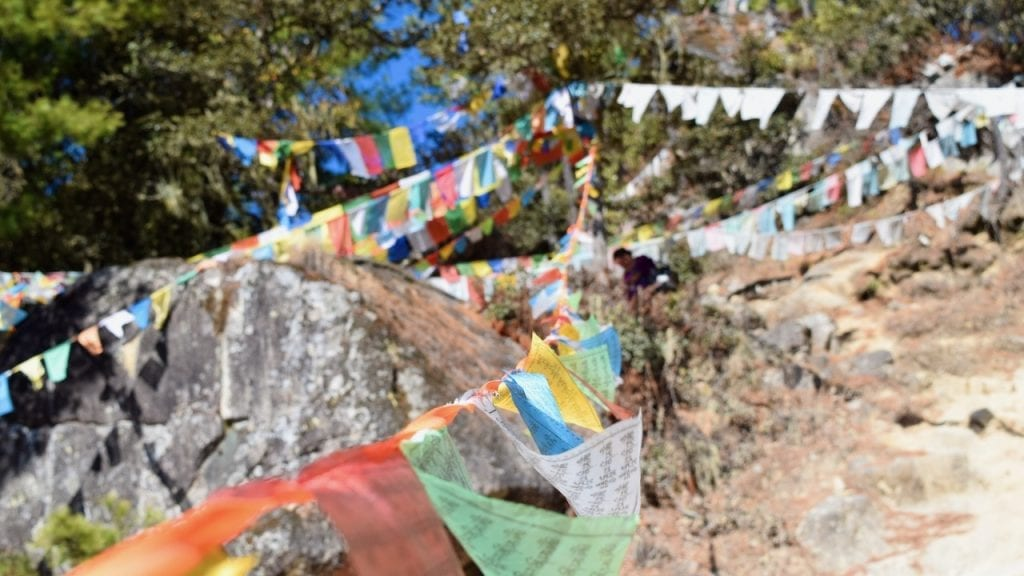 Prayer flags at the end of Tiger's nest trek.