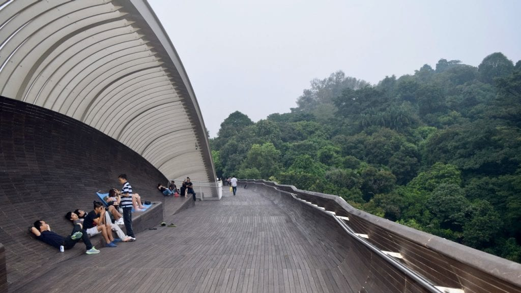 People are walking and relaxing during Southern Ridge Walk in Singapore.