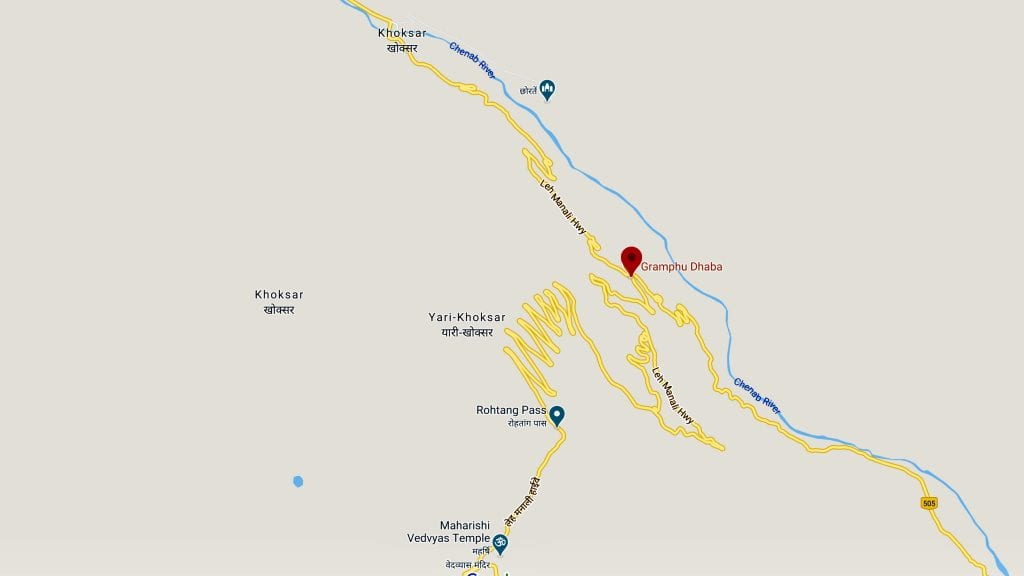 A map showing Gramphu from where the road from Manali split to Spiti valley and Ladakh.