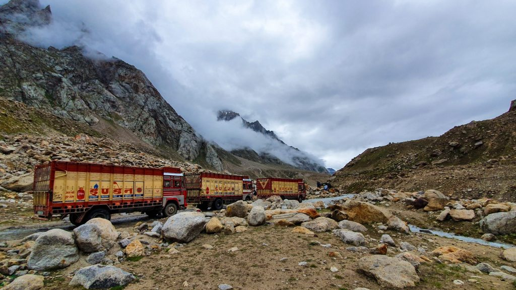 Trucks are crossing streams in Spiti Valley