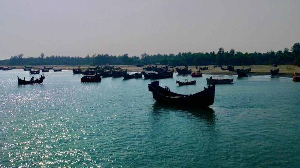 Boats docked in Saint Martin's Island