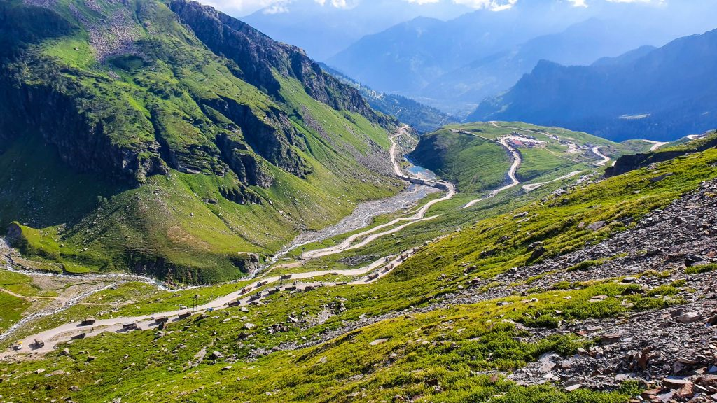 The road to Spiti Valley from Manali gets spiral.