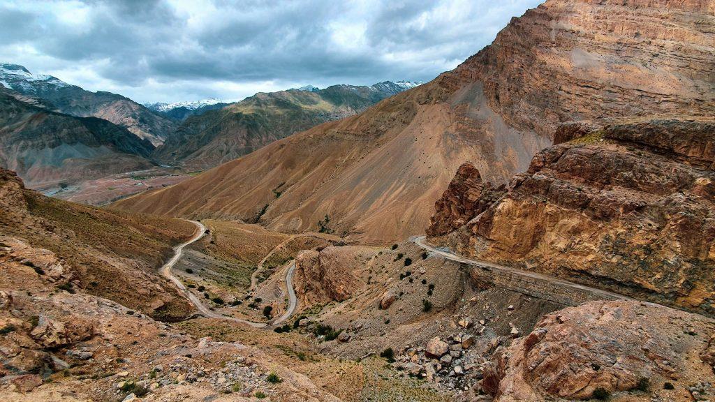 Hair pinned roads in Spiti valley.