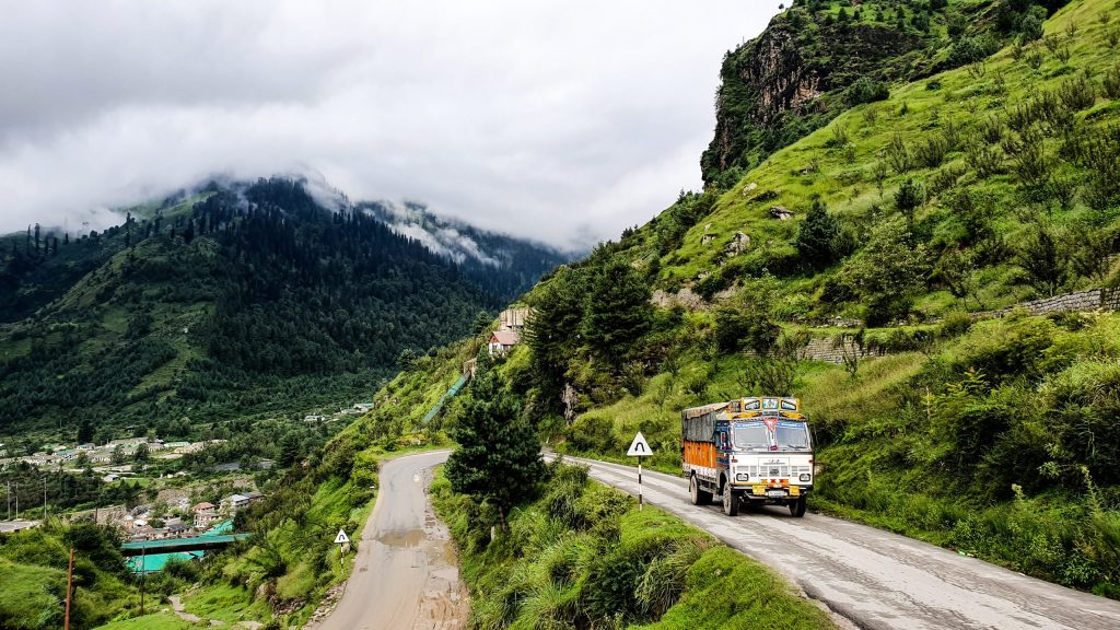 The road from Manali to Spiti valley is spiral.