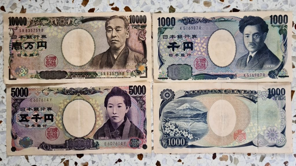 Currency of Japan - Japanese Yen. One of the tips before traveling to Japan for first time is to take yen.