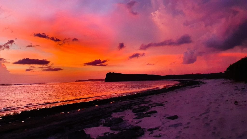 The sky has turned red during sunset in Ekas, Lombok