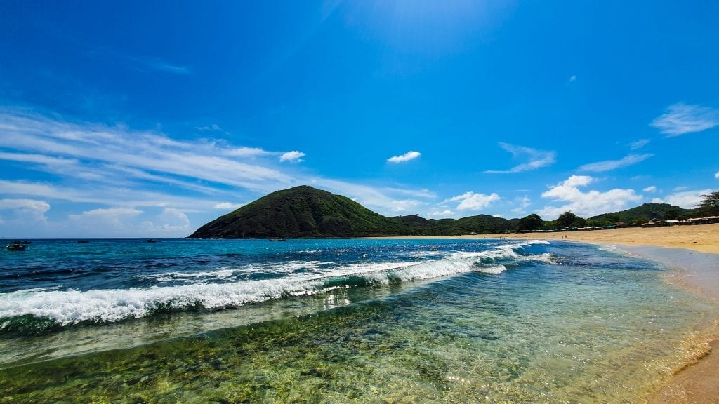 Clear water in Mawun Beach in Lombok