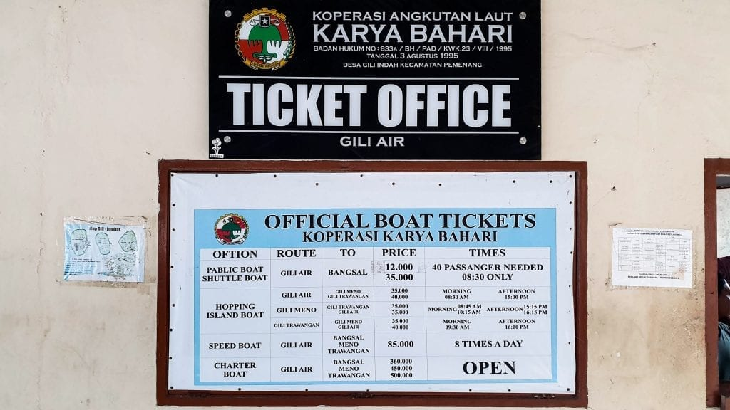 Gili Air Boat Timing