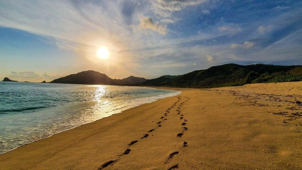 Mekaki Beach in Kuta Lombok during Sunset