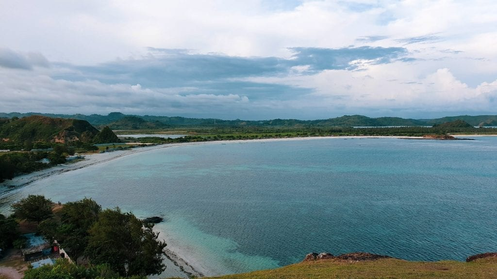 Panoramic view of Tanjung Aan in Kuta, Lombok