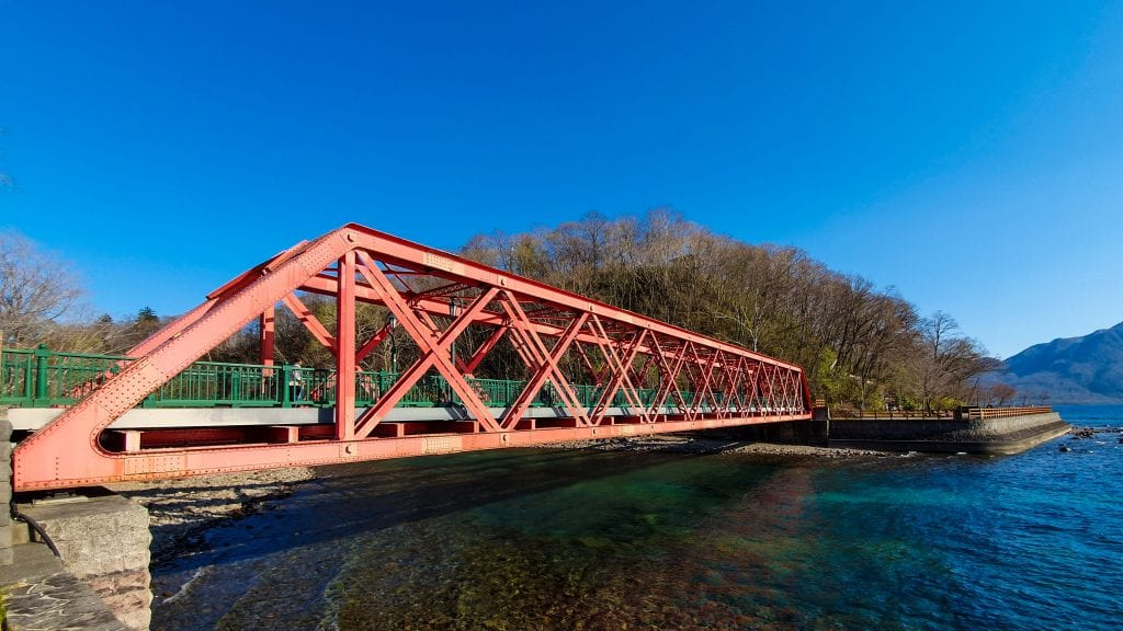 Red Bridge in Lake Shikotsu is a good day trips from Sapporo.