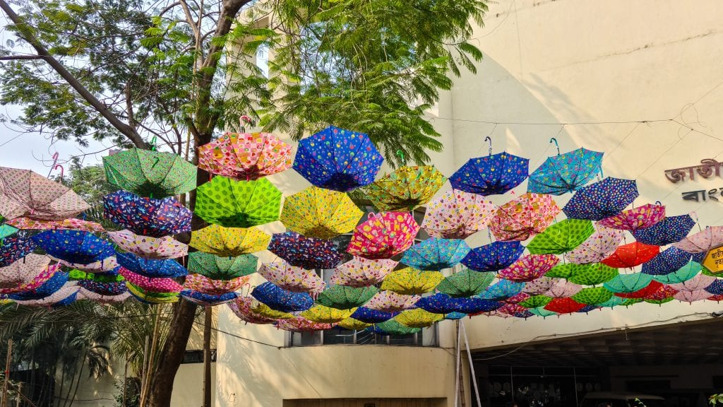 Colorful umbrella in Shilpakala Academy Dhaka