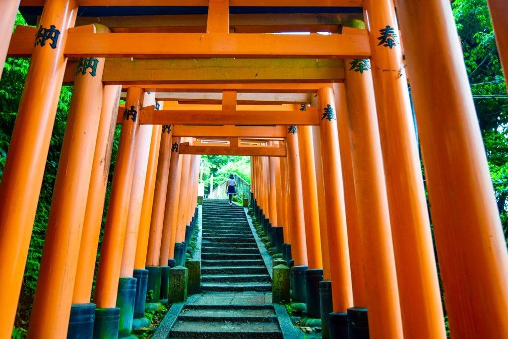 Vermilion Torii Gates in Fushimi Inari Shrine