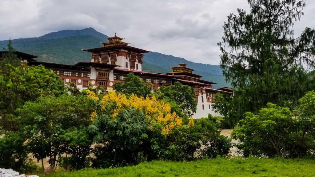 Outside View of Punakha Dzong - one of the most beautiful places to visit in Punakha.