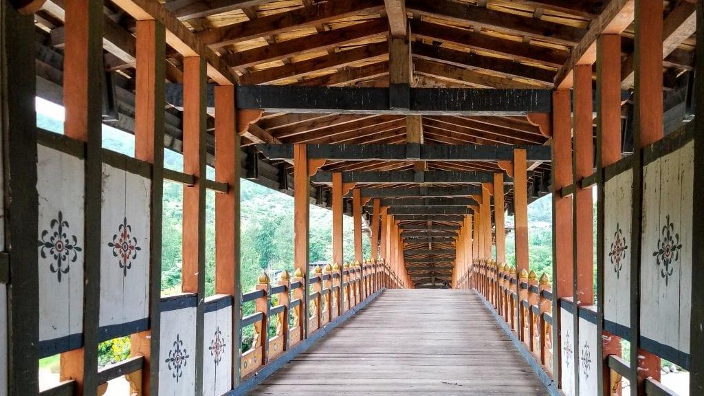 Wooden Entrance bridge of Punakha Dzong